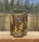 Exceptional Moser Enameled Art Glass Swallow and Dragonfly Vase