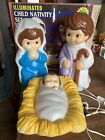 WORKING Empire Blow Mold Illuminated Child Nativity Set In Orig Box 18 Tall