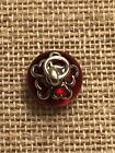 JAMES AVERY Sterling Silver HEART FINIAL w Deep Red Art Glass Charm 280 RETIRED