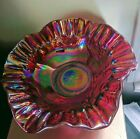 Mosser Red Carnival Glass Fluted Bowl Grapes  Cherries Unsold Store stock