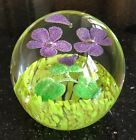 CAITHNESS GLASS PAPERWEIGHT Emerald Suspended Pop Flowers and Bubbles RARE