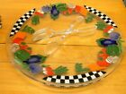 Extra Large 20 PEGGY KARR Fused Glass Checkerboard Vegetable Round Tray Platter