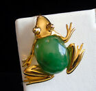 Vintage KJL Kenneth Jay Lane Poured Jade Art Glass Frog Brooch Pendant Enhancer