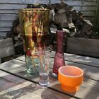 4 Vintage Retro Glass Items Vases Candle Holders Bowl
