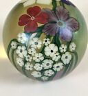 Vintage Iridescent Orient  Flume Signed Dated 1985 Art Glass Paperweight