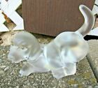 Fenton Glass Pouncing Puppy Dog Figurine Opaque Clear