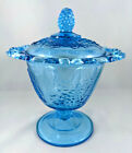 VINTAGE INDIANA GLASS BLUE COVERED CANDY DISH WITH OPEN WORK EDGE HARVEST GRAPE