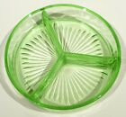 VINTAGE DEPRESSION GLASS GREEN URANIUM RELISH CANDY NUT 3 SECTION DISH NICE