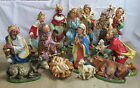 Vintage Italy Paper Mache Fontanini 14 Piece 12 Figures Nativity Christmas Set
