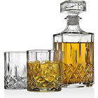 Whiskey Decanter and Glasses Barware Set Liquor Scotch Bourbon Drinking Glasses