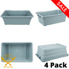4 Pack Gray Meat Lug Tote Box Rectangle Restaurant Food Storage Smallwares New