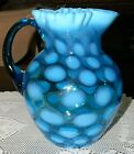 Beautiful FENTON Large Blue Coin Dot Ruffled Top Pitcher Great Condition