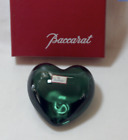 RARE Baccarat DK GREEN PUFFED HEART Double signed w sticker BOXED