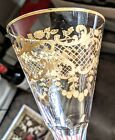 Set of 5 Saint Louis Crystal Champagne Flutes Gold Encrusted Glass Baccarat