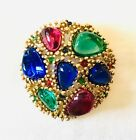 Vintage NINA RICCI Couture Brooch Red Blue and Green Gripoix Glass