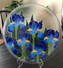 Peggy Karr Art Glass Iris 14 Serving Platter Home Decor Excellent