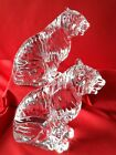 2 FLAWLESS BACCARAT France Art Glass TIGER LION Crystal FigurineNICE