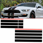 1Set Black + Red Racing Stripes Car Hood Roof Trunk Decals Sticker Accessories