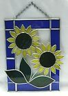 Stained Glass With Sunflowers Blue Boarder Window Wall Hanging