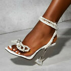 Women Pearls Rhinestones Bow Knot Sandals Square Toe Clear Heels Stilettos Shoes