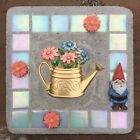 Mixed Media Jewelry Art gnome watering can garden
