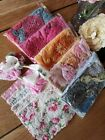 5 Hand Dyed Vintage Linens Crochet Lace Quilt Scrap Sewing Remnant Craft Pk 200