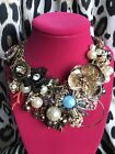 Betsey Johnson HUGE Lucky Charms Coral Pearl Scarab Clover Necklace SOLD OUT