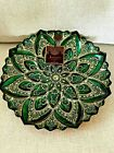 Vtg Artistic Accents Hand Decorated 13 Bowl Plate Green  Gold Made in Turkey