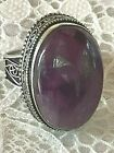 Sterling Silver Large Ornate Bali Style Purple Amethyst Cabochon Ring Size 9