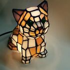 Tiffany Inspired Cat Kitty LED Lamp Hand Crafted Stain Glass