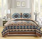 Blue Brown Southwest Coverlet Quilt QUEEN Size Set Native American Western Style