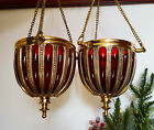 Pair of antique bohemian Cranberry Ruby Red Glass Lampshades encased in brass