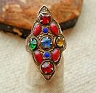 Antique Deco Jeweled Glass Enamel Tall Pinky Ring Size 3 approx Estate Lot