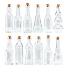 Small Clear Vintage Glass Bottles with Corks Bud Vases Decorative Potion Set