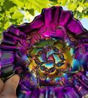 DUGAN Bells and Beads 6 inch Iridescent Purple Ruffled Carnival Glass Bowl FLAW
