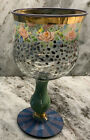 Mackenzie Childs Circus Multimotif Hand Painted Wine Goblet Glass With Gold Trim