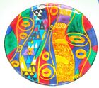 Fused Contemporary Abstract Art Glass Centerpiece Dish Platter Multi Color 135