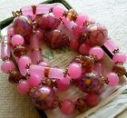 Antique Venetian Murano Pink Glass Wedding Cake Gold Foil Bead 28l Necklace