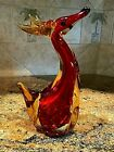 Vintage Murano Style Art Glass Deer 8 Red  Gold
