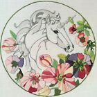 UNICORN in FLORAL CIRCLE Crewel Embroidery Kit Wool Yarns Linen Fabric
