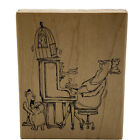 Vintage Cat Lady Playing Piano w Bird Rubber Stamp Art Impressions Rare 1996