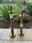 CHAPMAN Candlestick Holders Art Deco Style 2 Brass  Crackle Glass HEAVY