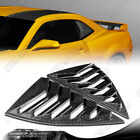 For 2010 2015 Chevy Camaro Carbon Look Side Window Louvers Scoop Cover Vent 2pcs