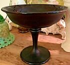 Tiffin Black Amethyst Satin Glass Compote Etched Lattice Pattern