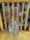 Hand Painted School Of Fish RAINBOW Etched Cocktail Iced Tea Pitcher Carafe NWT