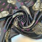 Traditional Black Brocade Chinese Dress Fabric Embroidered Silk Satin Oriental