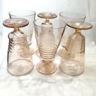 Pink Depression Glass Footed Ribbed Drinking Glasses Tumblers Set of 6 Vintage