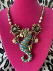 Betsey Johnson Betsey And The Sea LARGE Blue Seahorse Abalone Shell Necklace