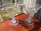 Pair large Antique Anglo Irish Open Cut Crystal Glass Compotes