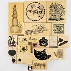 Rubber Stamp Lot of 20 Halloween Fall Rubber Stamps PSX Haunted House Witch Cat